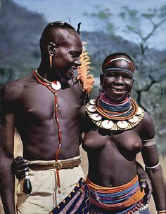 Africa | Happy young Meru couple. Kenya | Scanned postcard