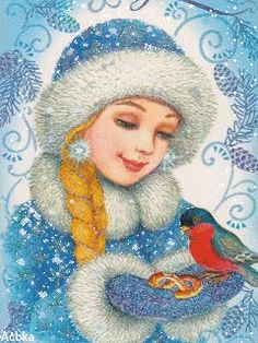 ❤️So Sweet ~ Girl feeding bird in the snow GIF