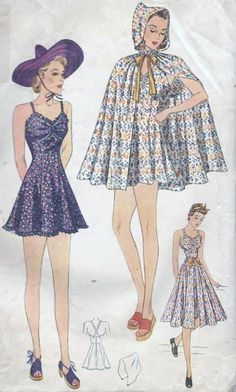 Pin Up Style Skirted Swimsuit Simplicity 3087 Vintage Sewing Pattern Bathing Suit Cape Beach Ensemble Size 16 Bust 34 Fashion Moda, 1940s Fashion, Fashion Sewing, Skirt Fashion, Diy Fashion, Vintage Fashion, Vintage Sewing Patterns, Clothing Patterns, Hooded Cape Pattern