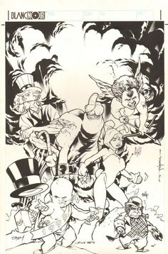 Anthony's Comic Book Art :: For Sale Artwork :: Gaijin Studios Christmas Card Jam Piece - Adam Hughes, Brian Stelfreeze, Cully Hamner, and Karl Story - 1999 Signedby artist Adam Hughes