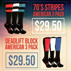 We have some American Themed Packs ready for today! Our Deadlift Block and 70's conveniently make a pack celebrating the ole Red White and Blue! These packs are perfect for those who want strong good looking socks all week long! American themed. Heavily discounted to only $29.50!  Amazon: http://ift.tt/1PhsbjN http://ift.tt/1R4edr8  #patriot #socks #american #usa #apparel #online #kneehigh #vintage #70s #kneesocks #deadlift #exercise #fitness #strength #soccer #softball #basketball…