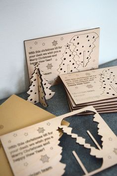Make custom cards with rewritten sayings and an orniment to pop out as a keepsake - Salvabrani Christmas Makes, Christmas Wood, Christmas Quotes, Christmas Crafts, Xmas, Laser Cutter Ideas, Laser Cutter Projects, Cnc Projects, Trotec Laser