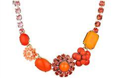 Collier Flower Power, cristal Swarovski, orange Philippe Ferrandis