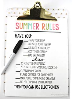 Printable Summer Rules via www.thirtyhandmadedays.com - help get kids on track and stay off electronics.