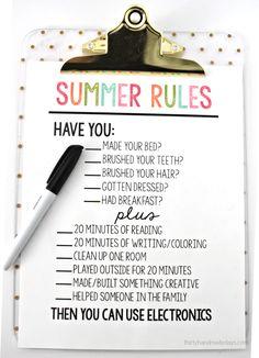 Printable Summer Rules via www.thirtyhandmadedays.com - help get kids on track and stay off electronics.