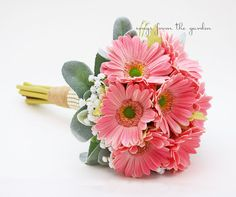 Pink Bridesmaid Bouquet Real Touch Gerber Daisies Baby's Breath Lamb's Ear Leaves Burlap Ribbon Pearl Mesh Accents