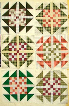 Amy's Passions: Christmas Goose quilt in progress (Bonnie Hunter's Goose in the Puddle pattern), from thrifted shirts, adding sashing and corners pieces to four nine patch blocks. Cute Quilts, Scrappy Quilts, Mini Quilts, Quilting Projects, Quilting Designs, Quilting Ideas, Quilt Block Patterns, Quilt Blocks, Plaid Quilt