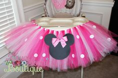 Minnie Mouse High Chair Tutu - Birthday Party by DivaSophiaBoutique on Etsy https://www.etsy.com/listing/478382134/minnie-mouse-high-chair-tutu-birthday