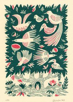 Image of 'Tree Bird' screen print melissa castrillon Art And Illustration, Vogel Illustration, Floral Illustrations, Business Illustration, Kunst Poster, Giant Flowers, Bird Tree, Gravure, Screen Printing