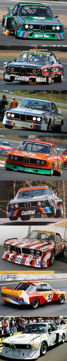 1973 BMW CSL group 5 liveries / 'Batmobile' / Gösser Beer / Luigi Castrol / Motorsport / Jägermeister / Castrol / Luigi / Calder / Stella / Germany