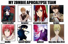 My Zombie Apocalypse Team #ciel #shirayuki #subaru #rin #tamaki #erza #light #shizuo