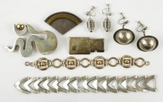 Two Modernist Silvertone Brooches. Lot 162-7215
