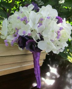 White Hydrangeas, Purple Sweet Peas and Lavender Wedding Bouquet - ribbon's kinda messed up but flowers are pretty Hydrangea Bouquet Wedding, Purple Wedding Bouquets, Wedding Flowers, Lavender Bouquet, Gris Violet, Wedding Wishes, Floral Arrangements, Beautiful Flowers, Dream Wedding