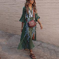Sexy V Collar Floral Printed Slit Maxi Dress Floral Maxi Dress Green F – Ecoch. - - Sexy V Collar Floral Printed Slit Maxi Dress Floral Maxi Dress Green F – Ecocheefashion Source by Floral Print Maxi Dress, Maxi Dress With Sleeves, Sleeve Dresses, Slit Dress, Tribal Dress, Boho Dress, Tribal Sleeve, Hippy Dress, Tribal Maxi