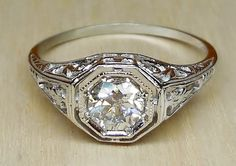 Vintage Antique .50ct Old European Cut Diamond 14k White Gold Filigree Engagement Ring 1920 Art Deco