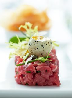 Tuna Tartare with Quail Egg Anthony Tahlier Photography