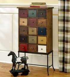 Love apothecary chests! Love all the drawers. Pretty way to organize.