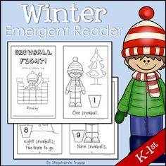 Winter Emergent Reader for Kindergarten and First Grade (FREE)  Snowball Fight is a fun and interactive winter emergent reader that your beginning readers will love!   The simple, predictable text focuses on the number words one through ten.  On each page with a number word, students are to draw that amount of snowballs in the bucket.