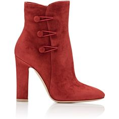 Gianvito Rossi Women's Savoie Ankle Booties ($1,145) ❤ liked on Polyvore featuring shoes, boots, ankle booties, ankle boots, colorless, short suede boots, red high heel boots, high heel ankle boots and suede bootie
