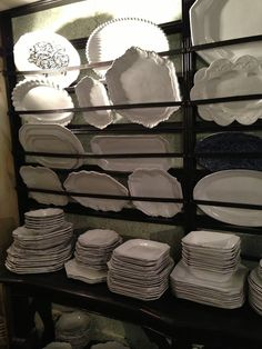 Love this rack for serving dishes. greige: interior design ideas and inspiration for the transitional home : Astier de Villatte, Paris White Dishes, White Plates, Vintage Plates, Vintage China, Plate Racks, Cottage Kitchens, Transitional House, White Porcelain, Interior Design