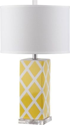 Safavieh LITS4134 Garden 1 Light Accent Table Lamp with Cylinder Cotton Shade Yellow Lamps Table Lamps Accent Lamps
