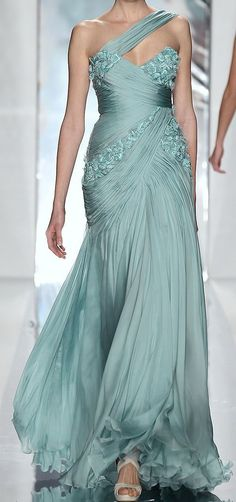 Jack Guisso || Seafoam Green -- Evening Gown