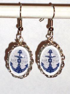 Ohrringe Anker Damen Hänger Ohrschmuck Modeschmuck Glas ohne Stein Durchzieher