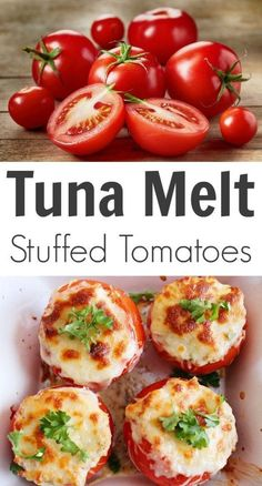 Melt Stuffed Tomatoes For comfort food that also has some nutritional value, try this Tuna Melt Stuffed Tomatoes recipe!For comfort food that also has some nutritional value, try this Tuna Melt Stuffed Tomatoes recipe! Healthy Snacks, Healthy Eating, Healthy Recipes, Clean Eating, Healthy Tuna Salad, Diet Snacks, Asian Recipes, Easy Recipes, Keto Recipes