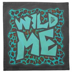 Leopard Brown and Teal Print Napkin designed by ITD Wild Me.