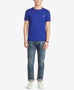 Polo Ralph Lauren Men's Custom Fit Jersey Crewneck - Foster Blue XXL