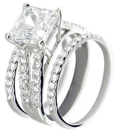 Sterling Silver Cubic Zirconia Wedding Ring Sets - Wedding and Bridal Inspiration Square Wedding Rings, Square Engagement Rings, Silver Wedding Rings, Engagement Ring Settings, Wedding Bands, Gold Wedding, Wedding Ring Pictures, Wedding Images, Wedding Ideas