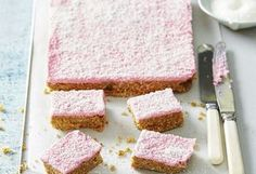 If you love ginger, this is the slice for you! With a sweet coconut, pink-coloured icing, and buttery ginger-infused base, this slice is great for cake stalls. Sweet Recipes, Cake Recipes, Honey Recipes, Pudding Recipes, Dessert Recipes, No Bake Slices, Cake Stall, Ginger Slice, Coloured Icing
