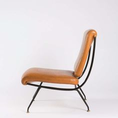 Gastone Rinaldi; Enameled Metal and Brass Slipper Chair for Rima, 1950s.
