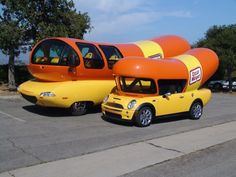 Oscar Mayer Weinermobiles.  Generations 3 and 4?  advertising custom prototype show campy Mayer's Meyer Meyer's Weiner Mobile Weiner-Mobile