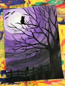 This week 4th grade will start their Spooky Sky value paintings! Value is the element of art that has to do with the lights and da...