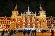 Amsterdam Centraal Station:  One-way international train tickets can go as low as €29 for Brussels, €35 for Paris, €39 for Berlin, and €59 for London.  You can take advantage of these low prices by booking months ahead at NS International