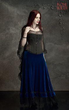 Grenadier Long Velvet Skirt with Tulle Ruffle - Custom Elegant Gothic Clothing and Dark Romantic Couture. $159.00, via Etsy.