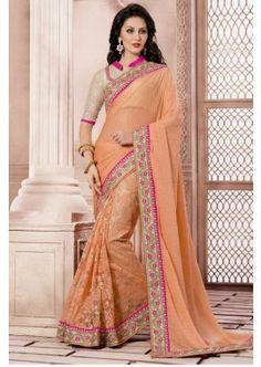 orange clair Khajuri couleur likara et saree skt net, - 127,00 €, #Sarimariage #Robepakistanaisepascher #Tenuebollywood #Shopkund