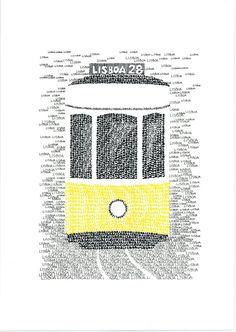 Items similar to LISBON Typographic Art Print/handwritten on Etsy – streetart Lisbon Tram, Print Handwriting, A Level Art Sketchbook, Types Of Art, Type Art, Vintage Travel Posters, Graphic Design Illustration, Online Art, Etsy