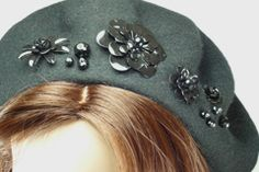 Black Wool Beret with Flower Beads