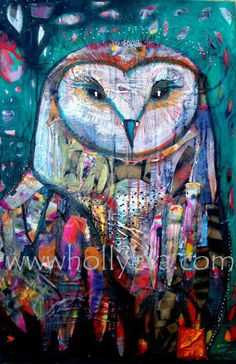 Uluka print by Holly Eva Bird Artists, Expressionist Artists, Beautiful Owl, Poster Pictures, Owl Art, Art Boards, Illustrators, My Arts, Hand Painted