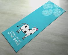 Working On My Cow Pose - Practice Yoga In Style [Gift Idea / Fun Present] Exercise Mat / Bitilasana