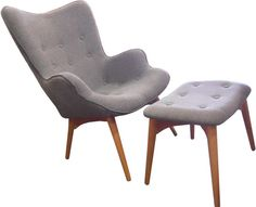 Replica Grant Featherston Chair and Footstool - Grey