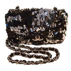 Pre-Owned Chanel Black & Silver Sequin Mini Classic Flap Shoulder Bag ($3,230) ❤ liked on Polyvore featuring bags, handbags, shoulder bags, black, chain-strap handbags, woven leather handbags, shoulder handbags, genuine leather handbags and mini shoulder bag