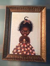 """Vintage primitive outsider naive African American girl with doll 67 Little Betsy, The painting is signed and dated ? Rietz 67 and has a metal name plaque that reads """" Little Betsy."""