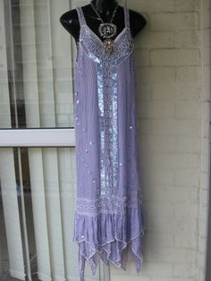 SOLD..Vintage  Stunning  Sheer  Silk Lilac Sequin Beaded Fringe Pearl Art Deco  Flapper Gatsby Hanky Hem Dropwaist  Dress