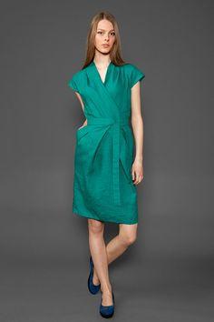 Teal green linen dress green dress for summer by HomeOfNature