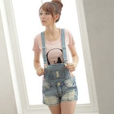 Washed Denim Jumper Shorts from Gyaru Fashion, Ulzzang Fashion, Fashion 101, Korean Fashion, Fashion Ideas, Jumper Shorts Outfit, Cool Outfits, Summer Outfits, Summer Clothes
