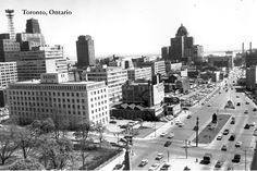 CCT0011 - Looking south along University Ave. at Queen Street West. Toronto, Ontario c1954.