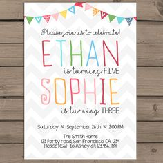 Joint birthday invitation Joint Birthday by Anietillustration